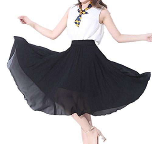 OMUUTR t Nouvelle Mode Section Mince Solide Couleur Confortable Haute Taille lgante Jupe en Mousseline de Soie Fminine Big Jupe Swing-Multi-Couleur en Option Noir M