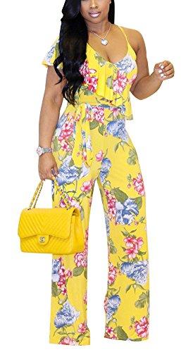 Womens Floral Print Wide Leg Jumpsuit High Waist Tie Long Pants Rompers