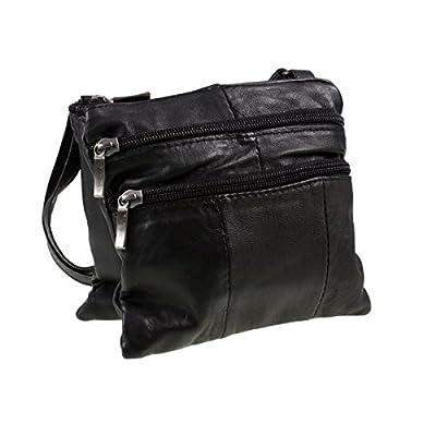 Lorenz Ladies Small Genuine Soft Leather Cross Body / Shoulder Bag (1) # 1941 - Black - cross-body-bags