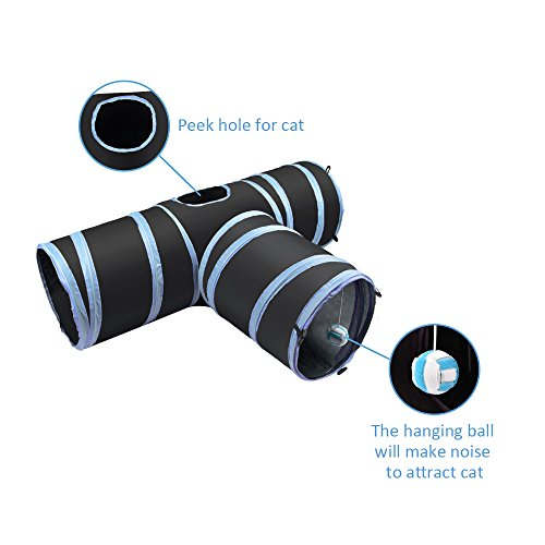Slowton Cat Tunnel Toy, Crackle Paper Collapsible Tube Three Connected Run Road Way Tunnel Catnip House with Fun Ball Puzzle Exercising and Playing for Kitten, Rabbits and Small Dogs by Slowton (Image #2)