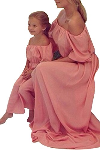 YMING Family Matching Clothes Mommy Daughter Off Shoulder Chiffon Maxi Long Dress
