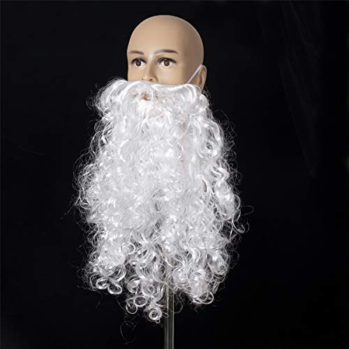 A-cool 2018 Funny Costume Party Male Man Halloween & Christmas Beard Facial Hair Disguise Game White Mustache Top Quality (19.7 Inchs)]()