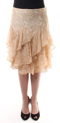 Lauren Ralph Lauren Womens Chiffon Snake Print Tiered Skirt Tan 12