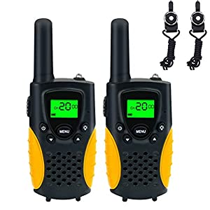 FAYOGOO Kids Walkie Talkies, 22-Channel FRS/GMRS Radio, 4-Mile Range Two Way Radios with Flashlight and LCD Screen, and Toys for 3-12 Year Old Boys and Girls, 2 Pack (Yellow+Black)