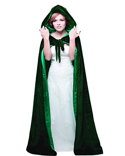 HSDREAM Unisex Hooded Wedding Cape Cloak lined with Satin For Halloween Costume (Dark Green, E)]()