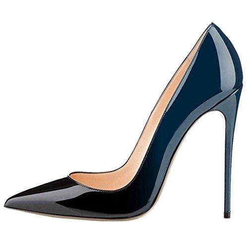 EDEFS Damen Stilettos High Heels Damenschuhe Übergröße Spitze Zehen Pumps Grun