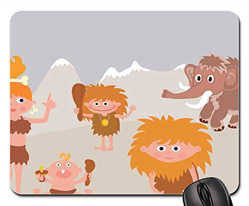 Mouse Pad - Animal Baby Boy Cartoon Caveman Comic Dad -