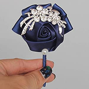 ShineBear Burgundy Satin Rose Wedding Corsage for Groom Boutonniere DIY Crystal Brooch Bridal Wedding Decoration Best for Man XH001-4 - (Color: Navy Blue, Size: Diameter 6cm) 18