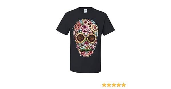 3e77e0b5e41 Amazon.com  Victorian Flower Sugar Skull T-Shirt Dia de Los Muertos  Calavera Tee Shirt  Clothing