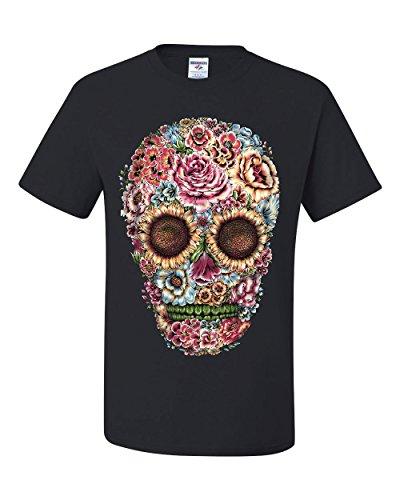 Victorian Flower Sugar Skull T-Shirt Dia de Los Muertos Calavera Tee Shirt Black 3XL -