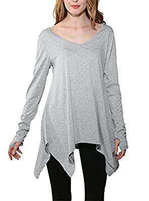 Twippo Women V-Neck Long Sleeve Casual Loose Tunic Tops Blouse