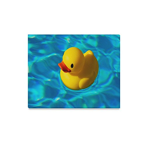 Cute Rubber Duck Floating On Water Oil Painting Home Decorative Canvas Prints- 20x16 Inch(One Side)