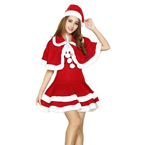 Women's Mrs Santa Claus Costume Adult Christmas Outfits Party Fancy Dress (Misses Claus Costume)