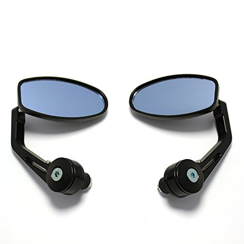 OKSTNO Universal Black Motorcycle 7 8 Handle Bar End Side Mirrors for Cruiser Sport Bikes ()
