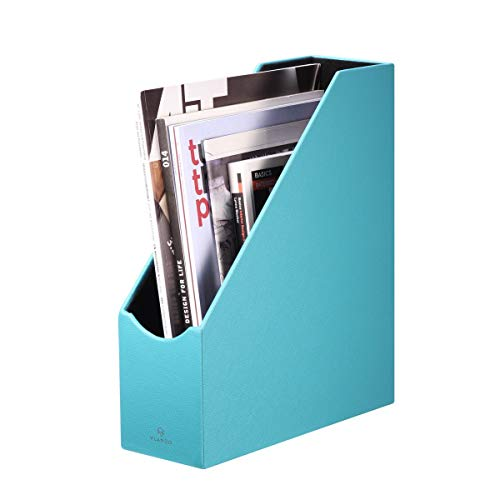 Vlando VPACK Magazine File Organizer Holder - Office PU Leather Desk Organizer Collection, Assorted Color (Peacock -