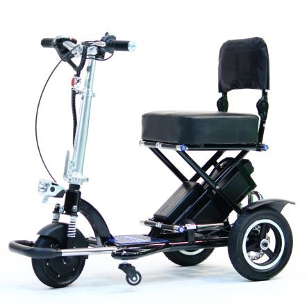 TRIAXE SPORT Foldable Electric Mobility Scooter + Cane & Cup Holder (Black)