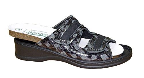 Algemare Damen Pantolette Schwarz Grau Leder Wechselfußbett Größe 38 bis 42 Schwarz
