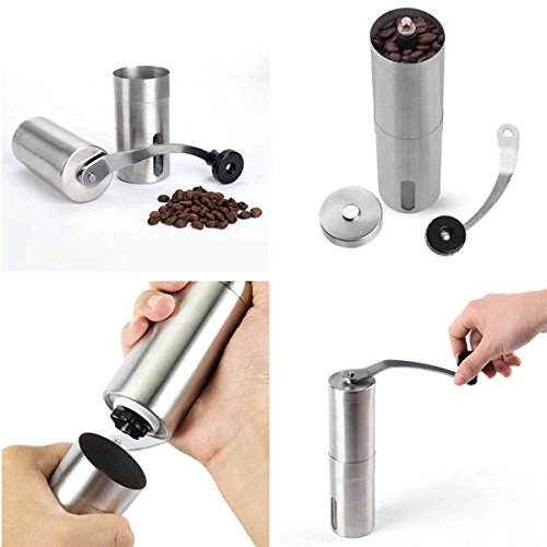 International Silver Di Lido (Ceramic Burr Manual Coffee Grinder Portable Hand Crank Stainless Coffee Mill)