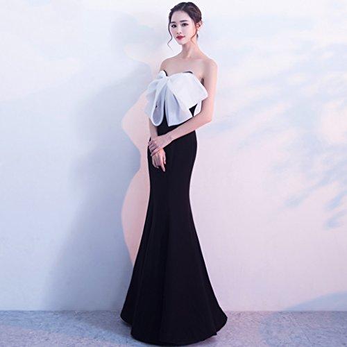 Lunga Reggiseno Sezione Banchetto Sera Sexy dimensioni Bianco In Lunga Da Hit Gonna E Abito Estate colore Vestito S Cuciture Nero Ospite Femminile qHw0E0g
