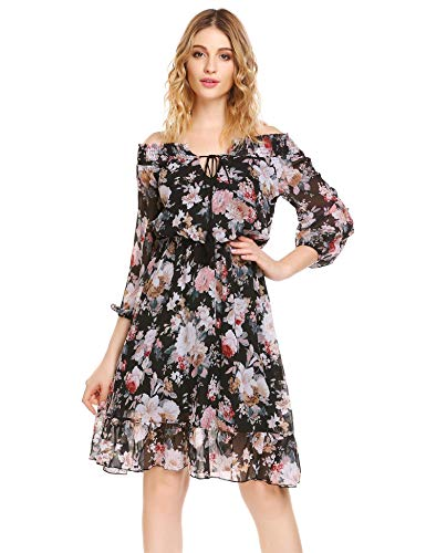 Women's Halter Black Floral Loose Casual Long Sleeve Chiffon Dress (M, -