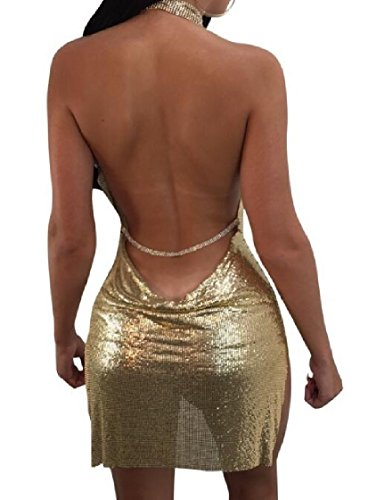 Halter Coolred Slit Sexy and Backless golden Club Sequin Dress Side Flare Women Fit rqv8rX