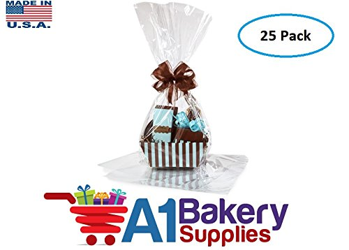 Large Clear Cellophane Bags Gift Basket Bags Cello Gift Bags 18in. X 30in. - 25 pack