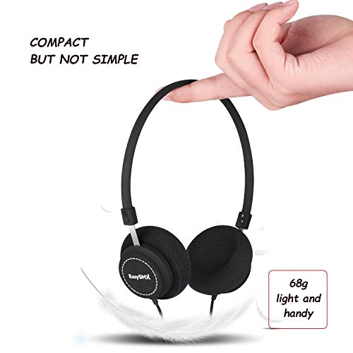 EasySMX M110 Lightweight On-Ear Music Headphone Stylish Braided Fabric Design In-line Control with Microphone for PC/Smartphones/MP4/MP3 3.5mm Plug - Fit Adults and Kids - Shopping Day Valentine Online Gift