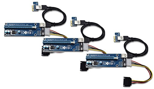 Underground Water Storage (Panto Version 6 4-Pin MOLEX Powered PCI-E PCI Express Riser - VER 006S - 1X to 16X PCIE USB 3.0 Adapter Card - With USB Extension Cable - GPU Graphic Card Crypto Currency Mining (3 pack))