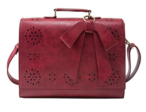 Women PU Leather Shoulder Bag Tote Satchel Red - 1