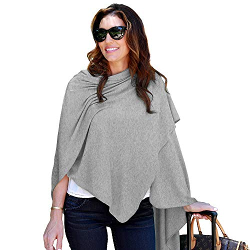 HappyLuxe Travel Wrap and Blanket, Feels like Cashmere, Eco Friendly Accessories for Women, Made in USA (Brushed Heather Grey)