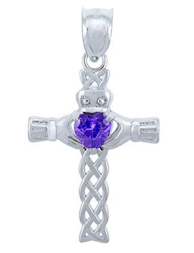 June Birthstone Heart CZ Sterling Silver Claddagh Cross Pendant