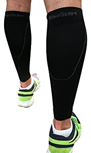 Calf Compression Sleeve by DinoDerm - Treat Shin Splints & Calf Pain - Great for Runners, Soccer, Walking, Basketball, Football, Cyclists, and more. (2 count = 1 pair)