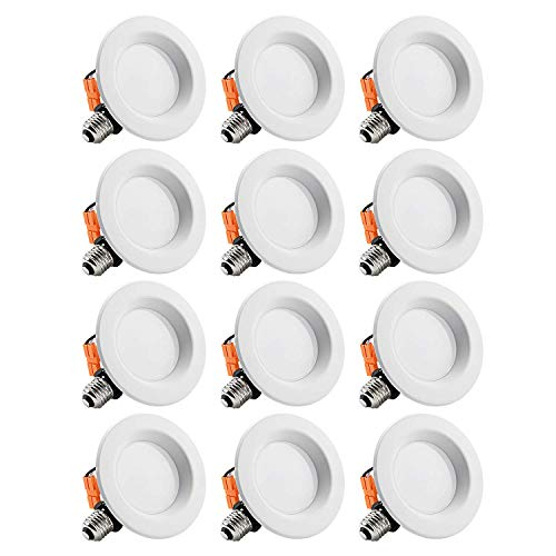 TORCHSTAR 12-Pack 4 Inch LED Downlight with Smooth Trim, Dimmable, 10W (65W Replacement), Retrofit LED Recessed Lighting Fixture, 5000K Daylight, CRI90+, ENERGY STAR & ETL Listed LED Ceiling Light