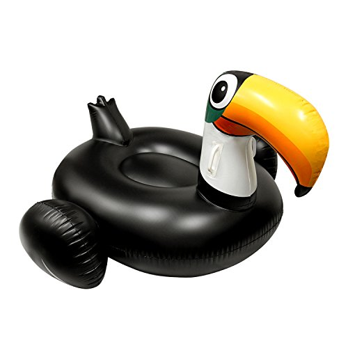 U.S. Pool Supply Giant 5 Foot Inflatable Black Toucan Pool Float - Fun Kids Swim Party Toy - Huge Summer Pool Lounge Raft (Chair Thinking Inflatable)
