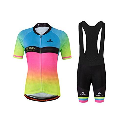 Sleeve Ride Shorts Short (Uriah Women's Cycling Jersey Bib Shorts Black Sets Short Sleeve Reflective Pink Green Size L(CN))