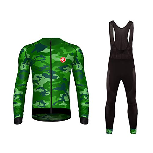 (Uglyfrog Newest #01 Long Sleeve Cycling Jersey + Bib Tight Sets with Gel Pad Men Outdoor Sports Wear Warm Fleece Winter Thermo Bicycle Triathlon Clothing)