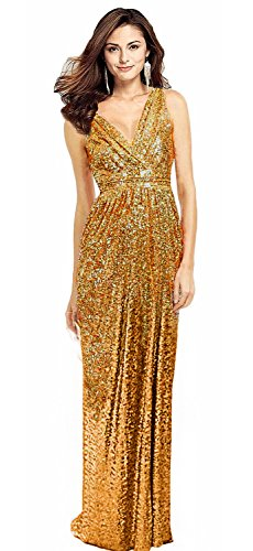 Sexy Gold Sequin Size Butmoon V Dress Dress Long Plus Bridesmaid Neck Prom Women's zgzq5U7w0