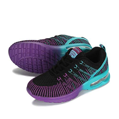 Chaussures Lacets Couture De Rayé Baskets À Sport Femmes Noir Foncé Jrenok Air Coloré Hauteur Coussin Augmentant Respirant Maille En qxvty0z