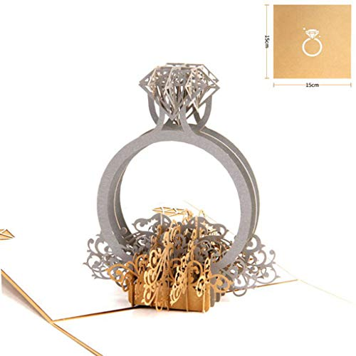 Glumes Handmade 3D Pop Up Diamond Ring Birthday Cards Creative Greeting Cards Papercraft for All Occasions, Happy Birthday Card, Valentines Day Card, Romance, Engagement, Anniversary Card -