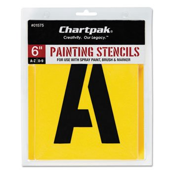 Chartpak 01575 Painting Stencil Set, A-Z Set/0-9, Manila, 35/Set (Stencils Chartpak Pickett Painting)