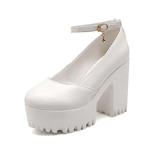 with Rough Heels and Assorted Toe Shoes Color Closed Platform Women's Pumps WeiPoot White Soft Material vaz11q