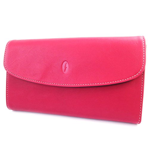 Wallet + checkbook holder 'Bergamo' fuschia colored. by Francinel