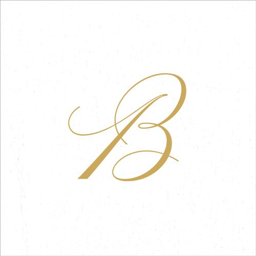 Monogrammed Initials - Entertaining with Caspari White Pearl Paper Linen Cocktail Napkins, Monogram Initial B, Pack of 30