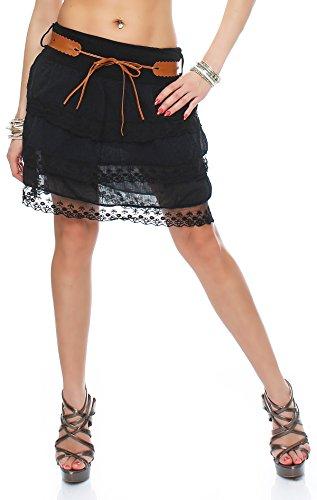 ZARMEXX Fashion - Falda - con volantes - para mujer negro
