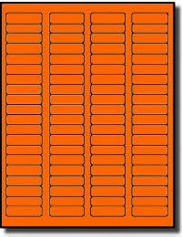 1,600 Label Outfitters Fluorescent Neon Orange Color Laser ONLY Labels 20 Sheets 1.75 x 0.5