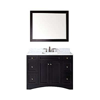 Virtu USA Elise 48 inch Single Sink Bathroom Vanity Set in Espresso w/ Square Undermount Sink, Italian Carrara White Marble Countertop, No Faucet, 1 Mirror - ES-32048-WMSQ-ES - Bathroom Renovation - Featuring a contemporary shaker design, the Elise offers simplicity while still providing an abundant amount of storage for your bathroom. Functional & Versatile - This bathroom vanity provides an abundance of storage with 2 functional doors and 6 functional drawers which are all installed on soft-closing hinges, creating an elegant bathroom experience. Easy Installation - Our factory assembled freestanding base cabinet is fully assembled for easy installation. - bathroom-vanities, bathroom-fixtures-hardware, bathroom - 41%2Bc9ofMNhL. SS400  -