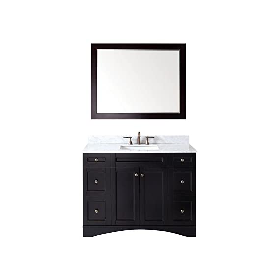Virtu USA Elise 48 inch Single Sink Bathroom Vanity Set in Espresso w/ Square Undermount Sink, Italian Carrara White Marble Countertop, No Faucet, 1 Mirror - ES-32048-WMSQ-ES - Bathroom Renovation - Featuring a contemporary shaker design, the Elise offers simplicity while still providing an abundant amount of storage for your bathroom. Functional & Versatile - This bathroom vanity provides an abundance of storage with 2 functional doors and 6 functional drawers which are all installed on soft-closing hinges, creating an elegant bathroom experience. Easy Installation - Our factory assembled freestanding base cabinet is fully assembled for easy installation. - bathroom-vanities, bathroom-fixtures-hardware, bathroom - 41%2Bc9ofMNhL. SS570  -