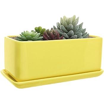10 Inch Rectangular Modern Minimalist Yellow Ceramic