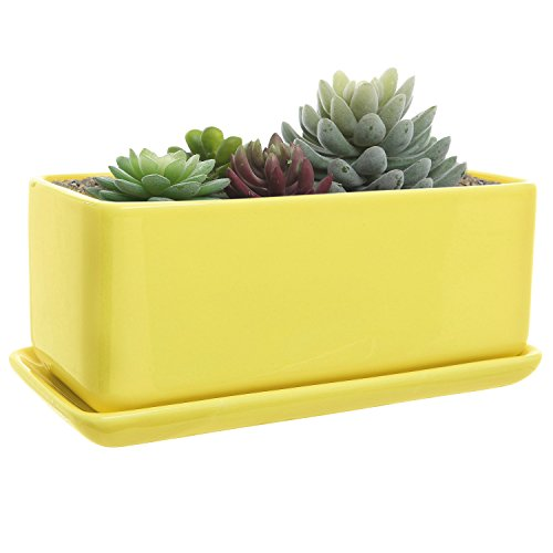 10 inch Rectangular Modern Minimalist Yellow Ceramic Succulent Planter Pot/Window Box with Saucer