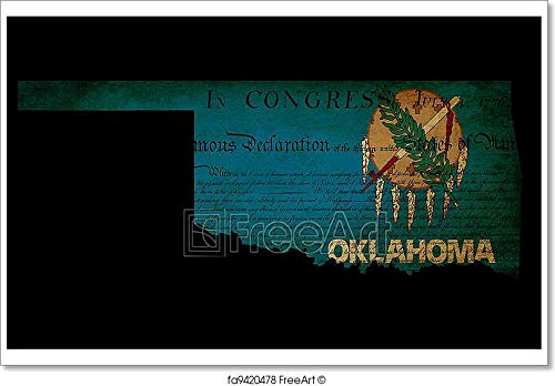 - Barewalls USA American Oklahoma State Map Outline with Grunge Effect Flag Insert and Declaration of Independence Overlay Paper Print Wall Art (28in. x 42in.)